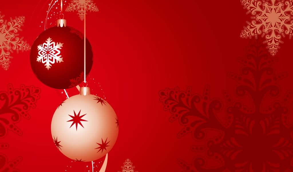 Fondo rojo con bolas de navidad - 1024x600