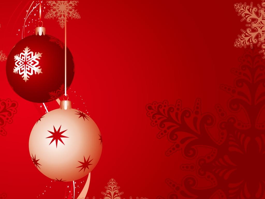 Fondo rojo con bolas de navidad - 1024x768