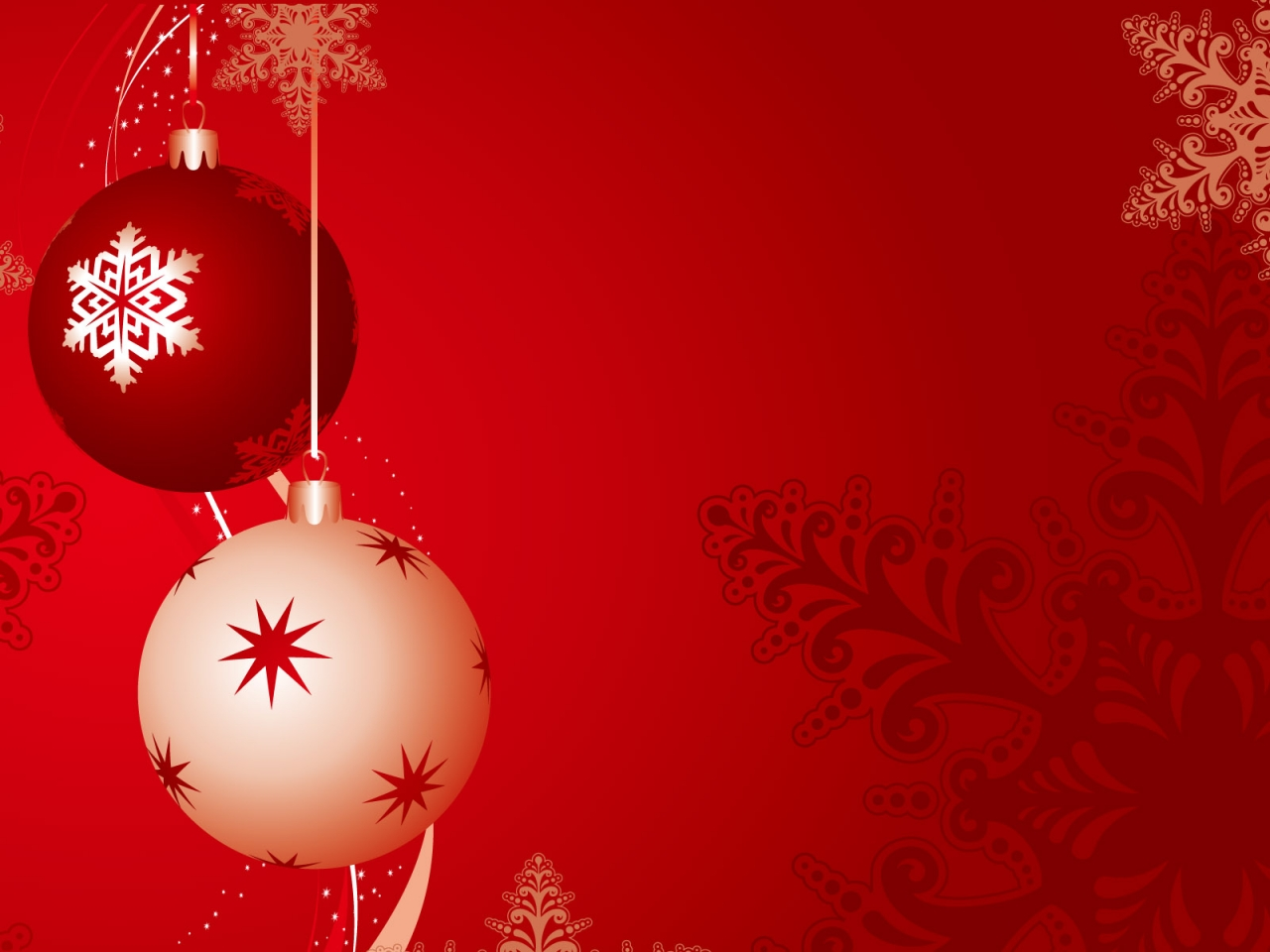 Fondo rojo con bolas de navidad - 1280x960