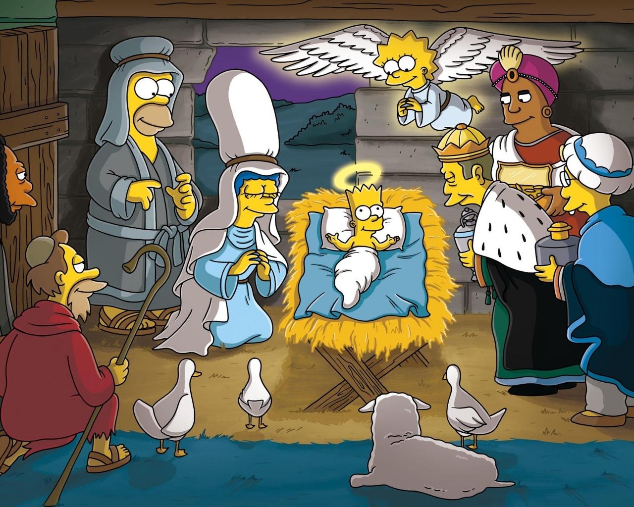 Los Simpsons y el nacimiento en Navidad - 1280x1024