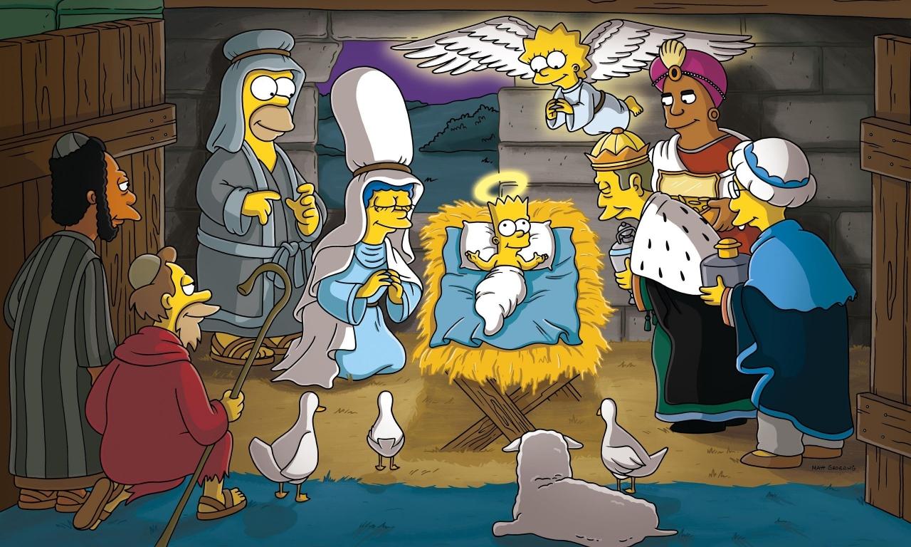 Los Simpsons y el nacimiento en Navidad - 1280x768