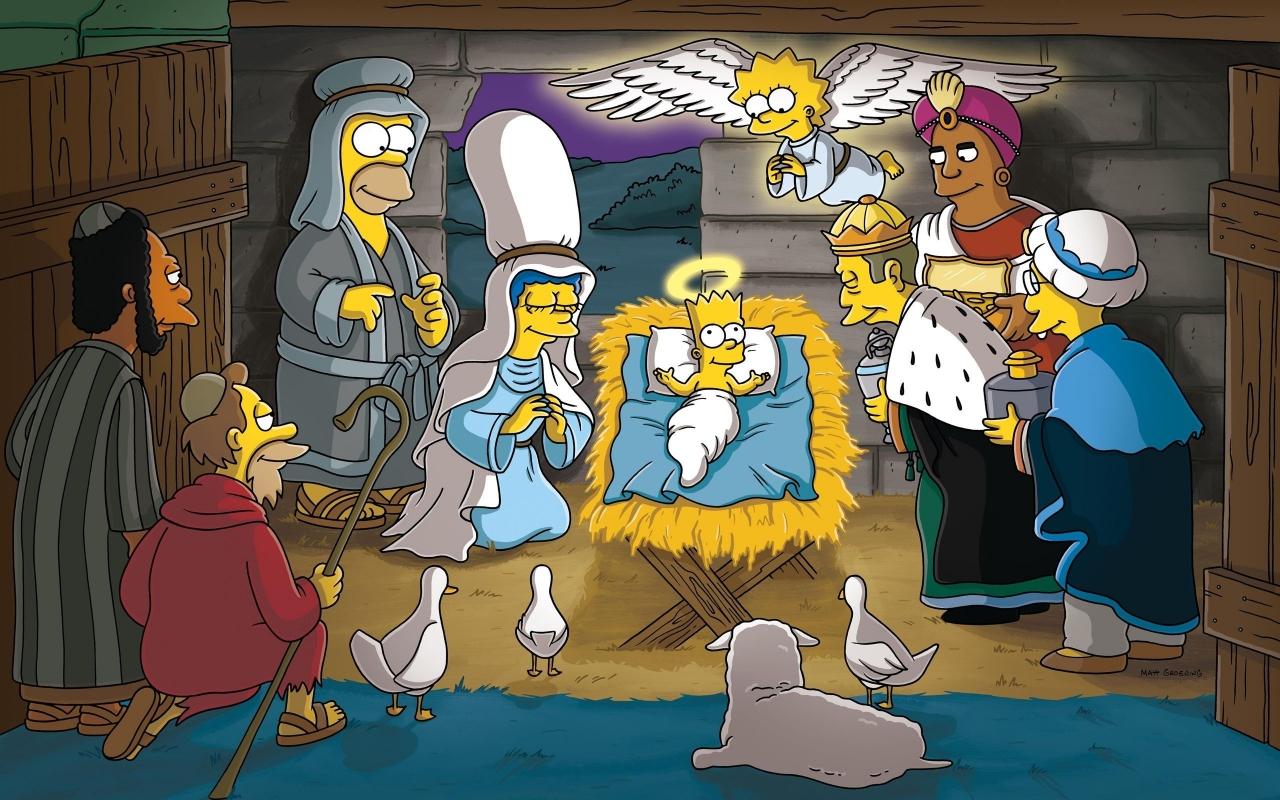 Los Simpsons y el nacimiento en Navidad - 1280x800