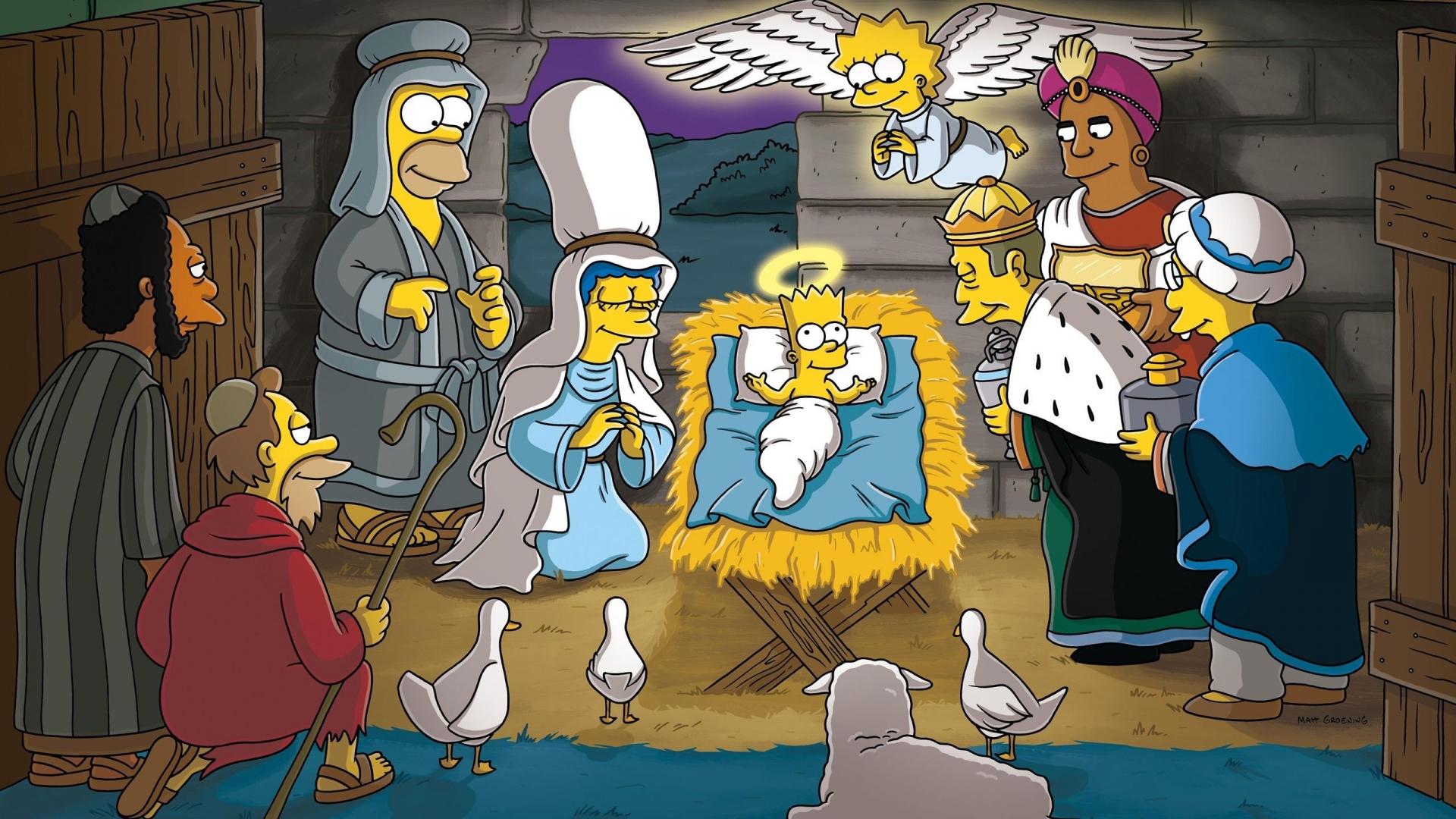 Los Simpsons y el nacimiento en Navidad - 1920x1080