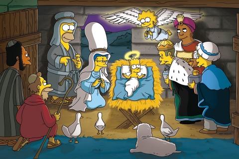 Los Simpsons y el nacimiento en Navidad - 480x320