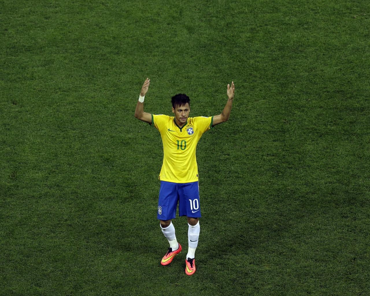 Neymar con la camiseta de Brasil - 1280x1024