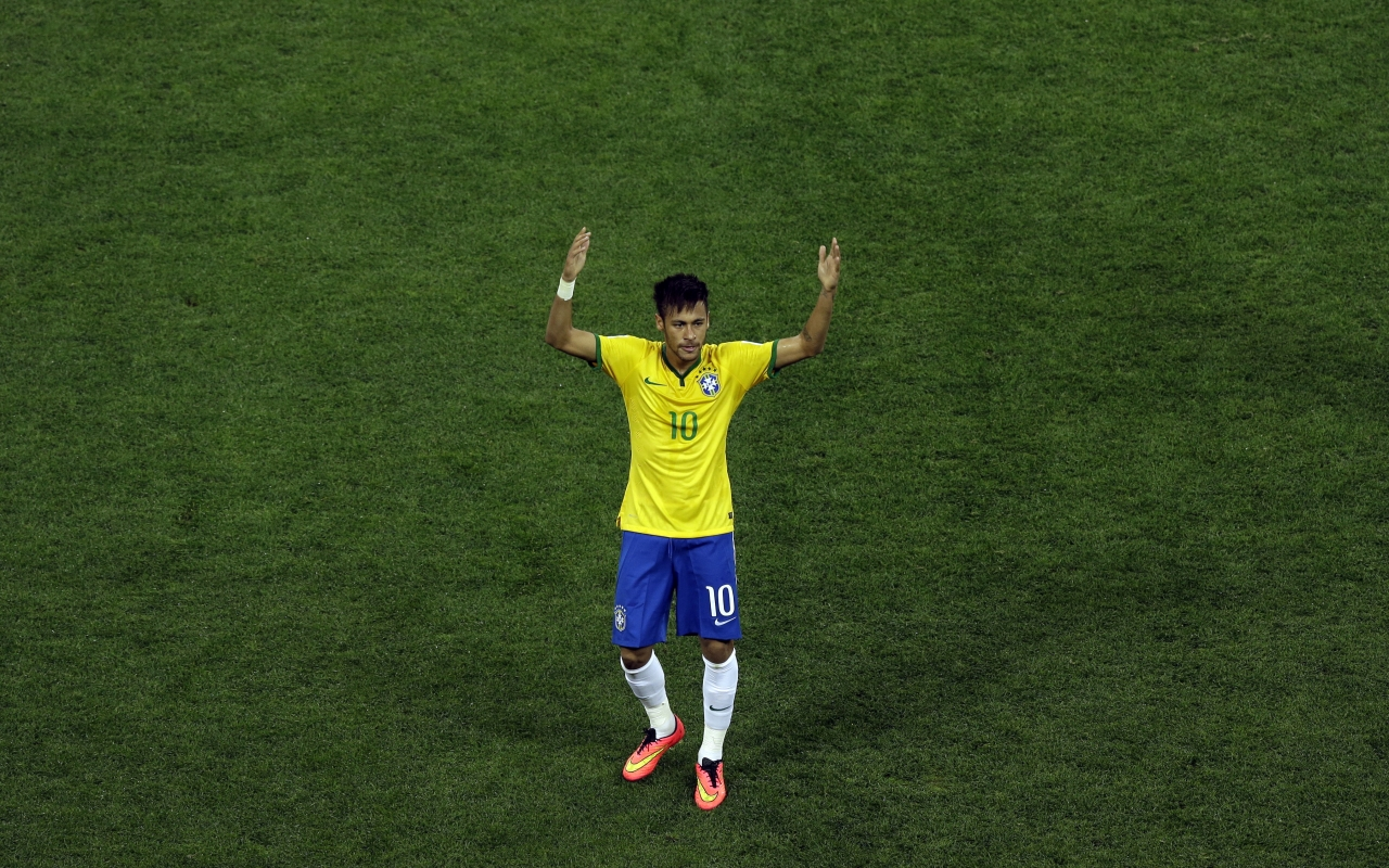 Neymar con la camiseta de Brasil - 1280x800