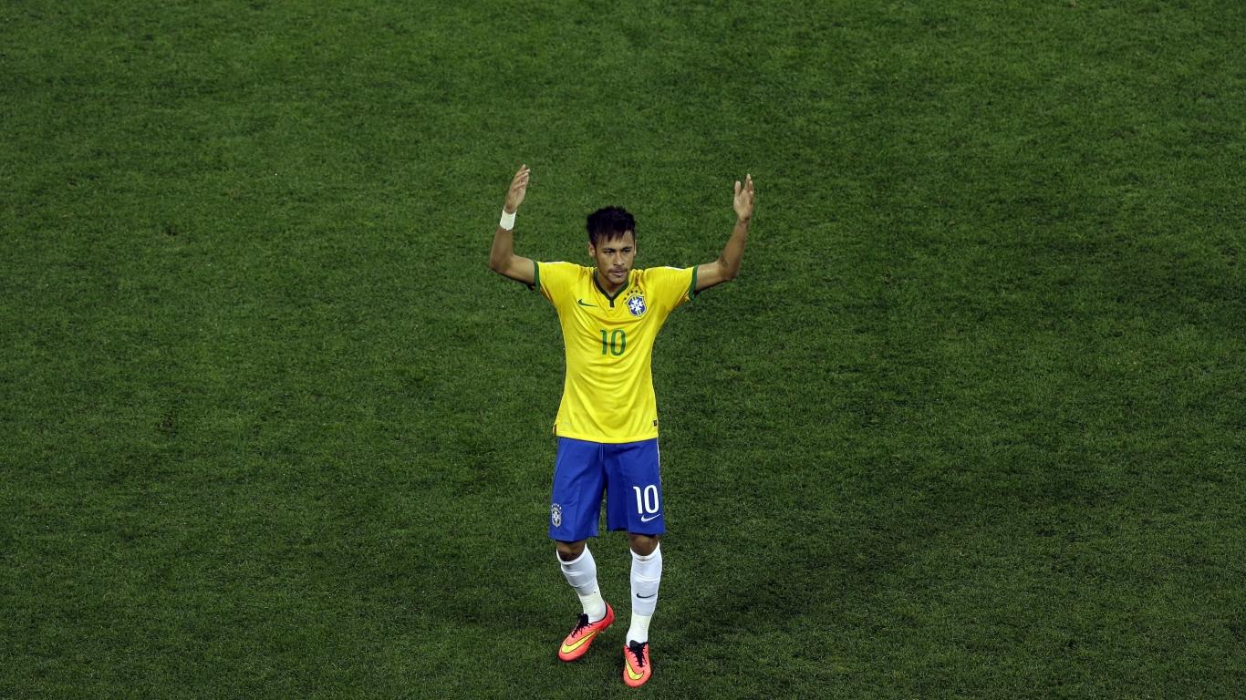 Neymar con la camiseta de Brasil - 1366x768