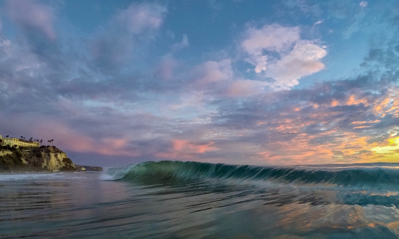 Las olas al atardecer - 1280x768