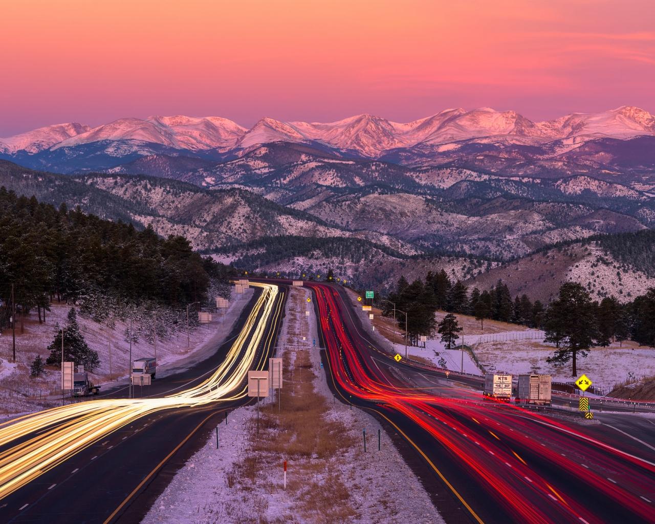 Una bella fotografía en una carretera - 1280x1024