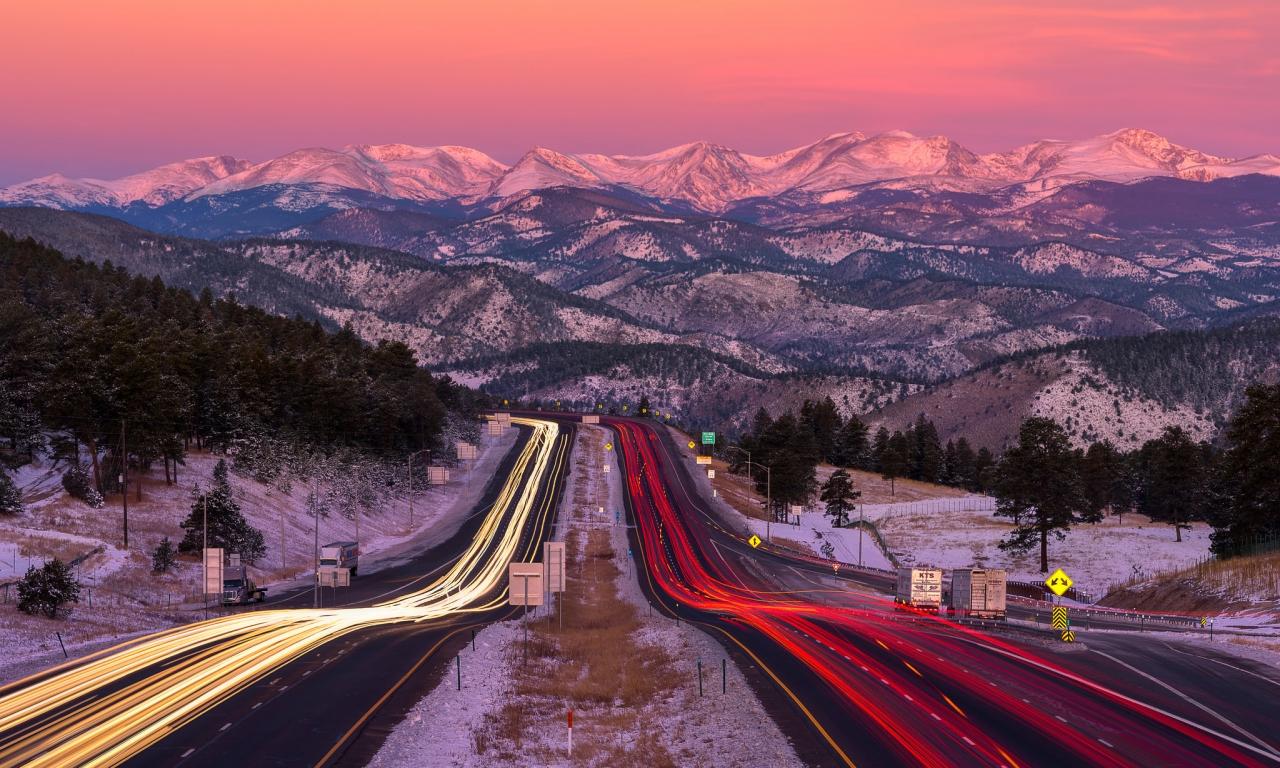 Una bella fotografía en una carretera - 1280x768