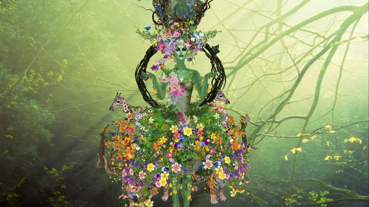 Flores y la madre abstracta - 1280x720