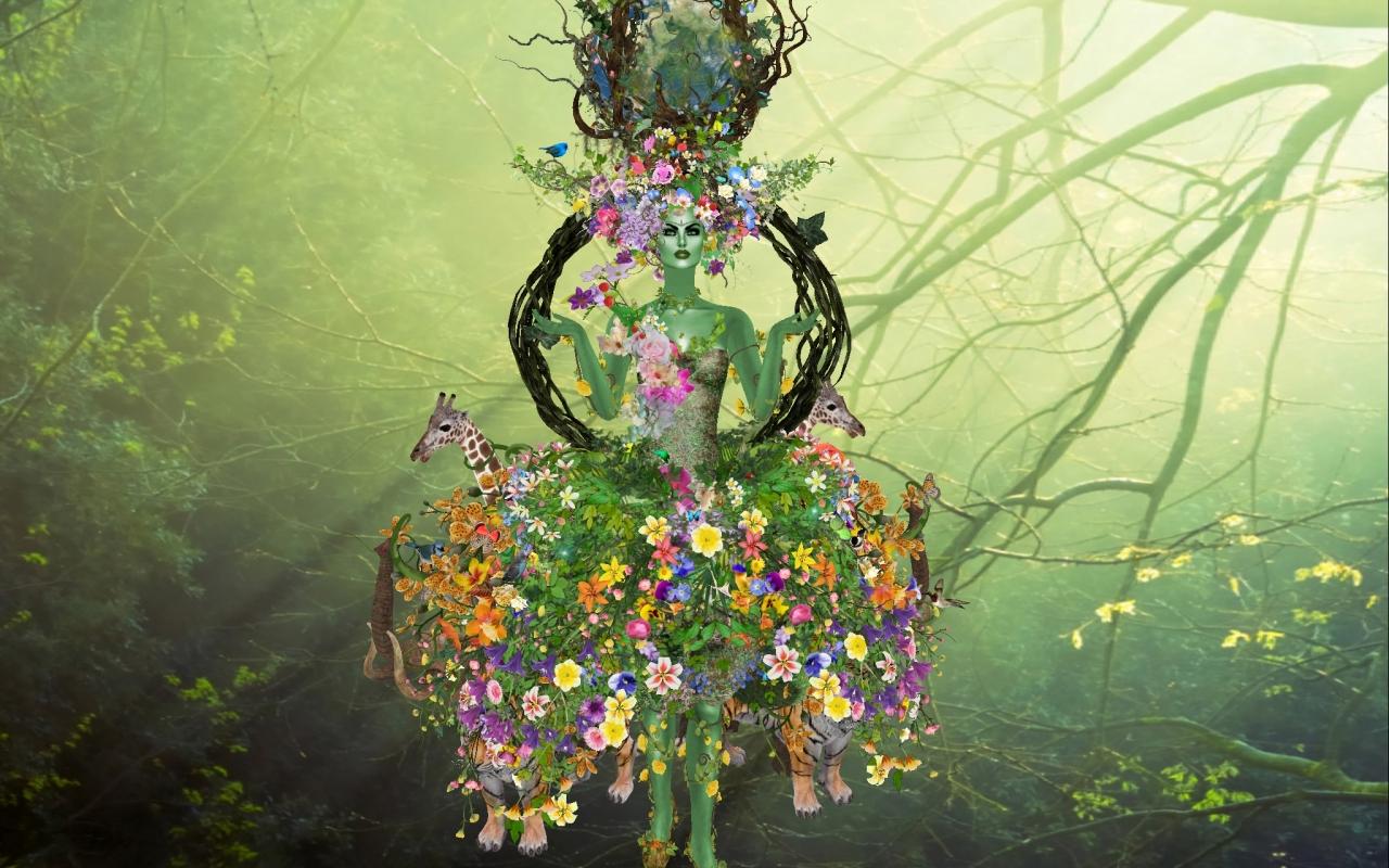 Flores y la madre abstracta - 1280x800