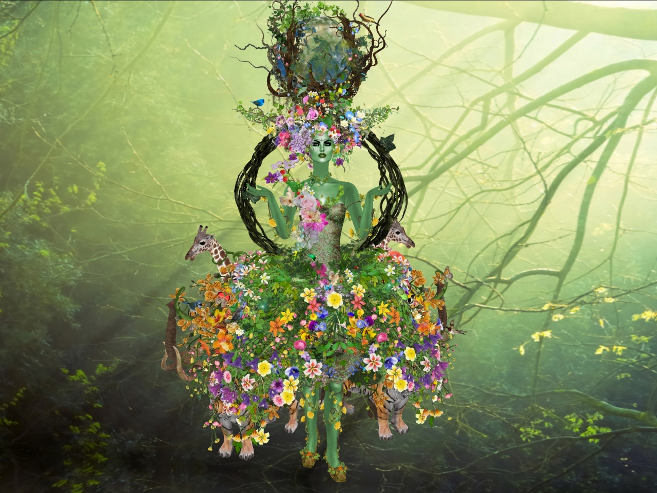 Flores y la madre abstracta - 1280x960