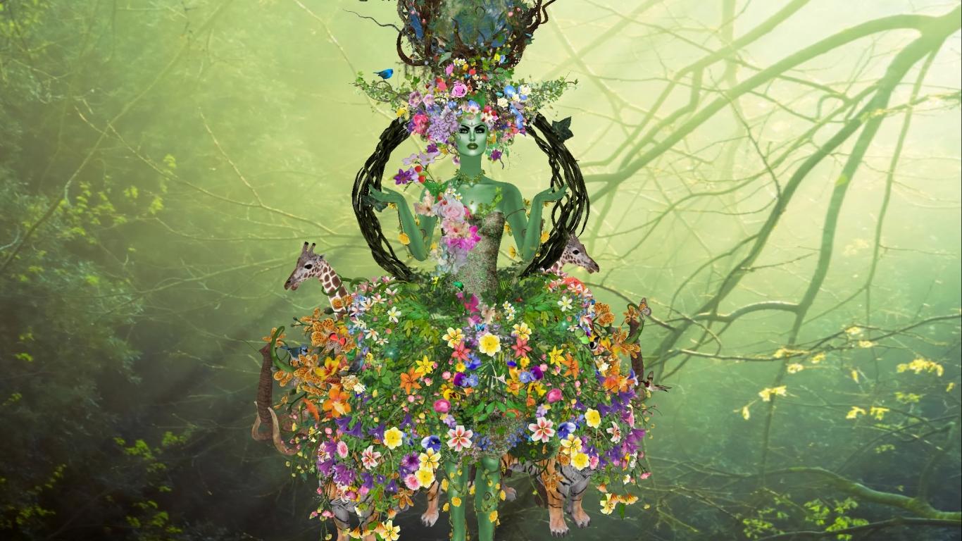 Flores y la madre abstracta - 1366x768