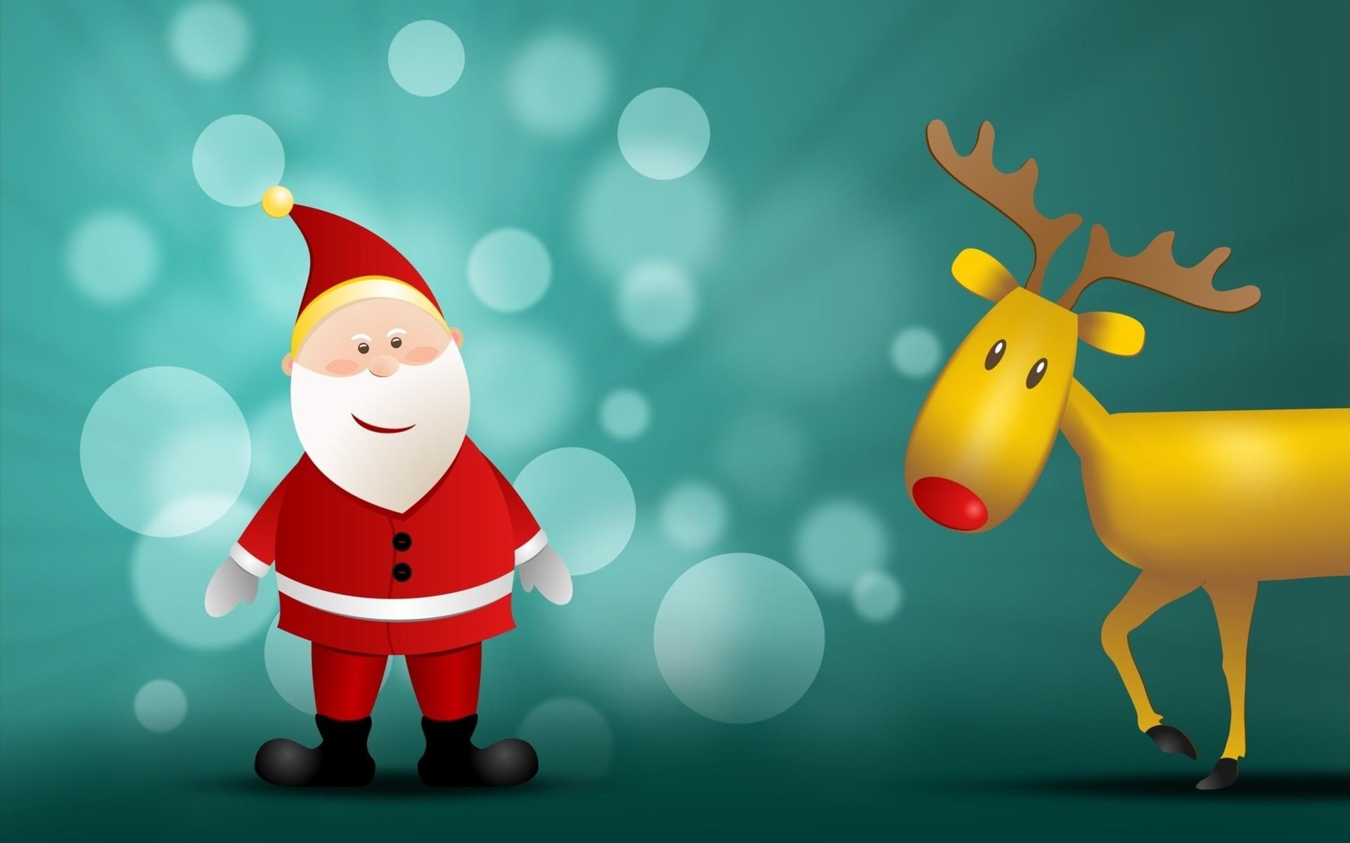 Santa Claus y su reno - 1920x1200