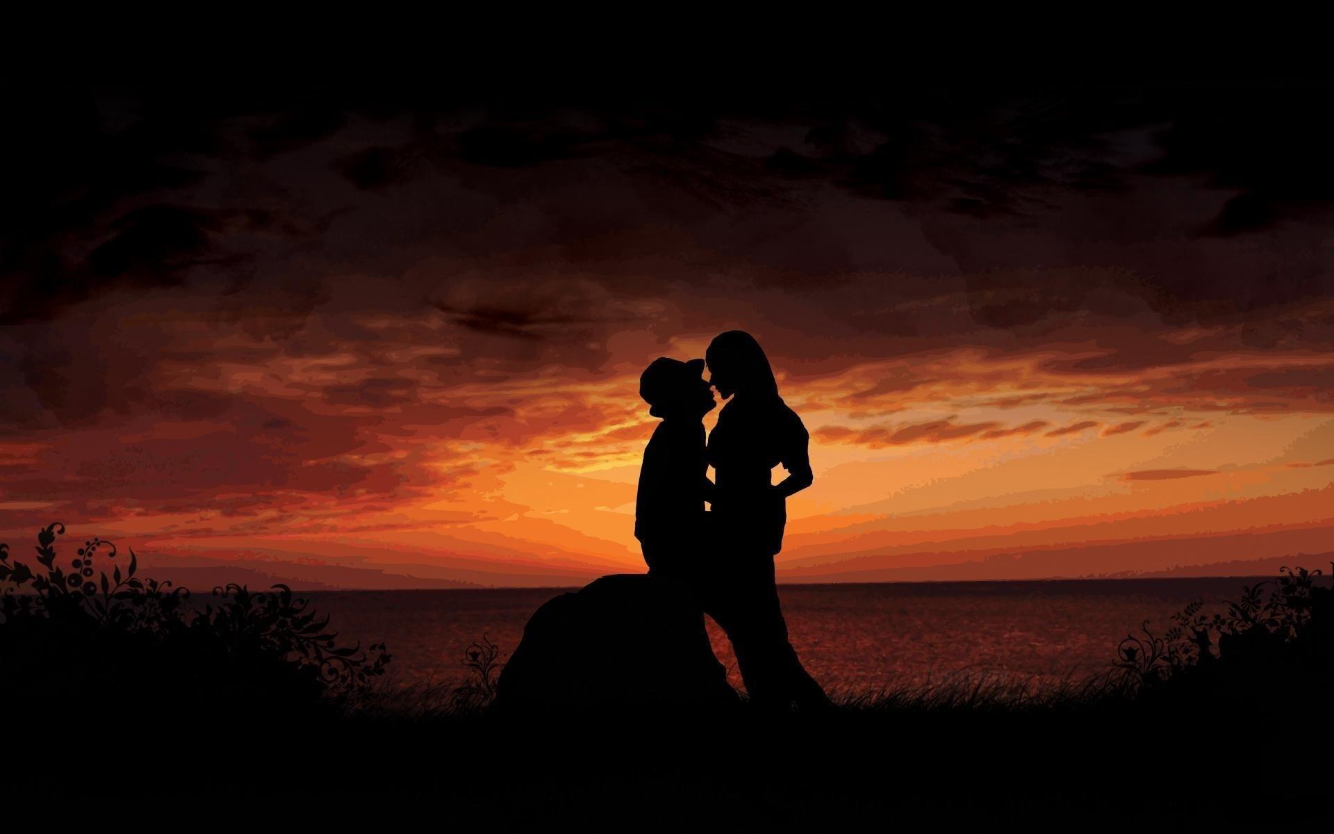 Siluetas de parejas de enamorados - 1920x1200