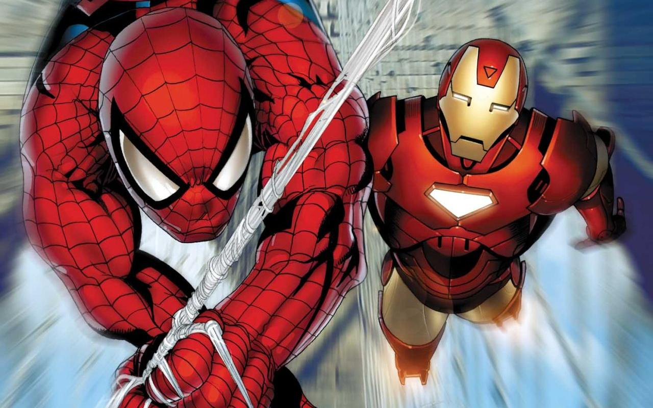 Spiderman y Ironman - 1280x800