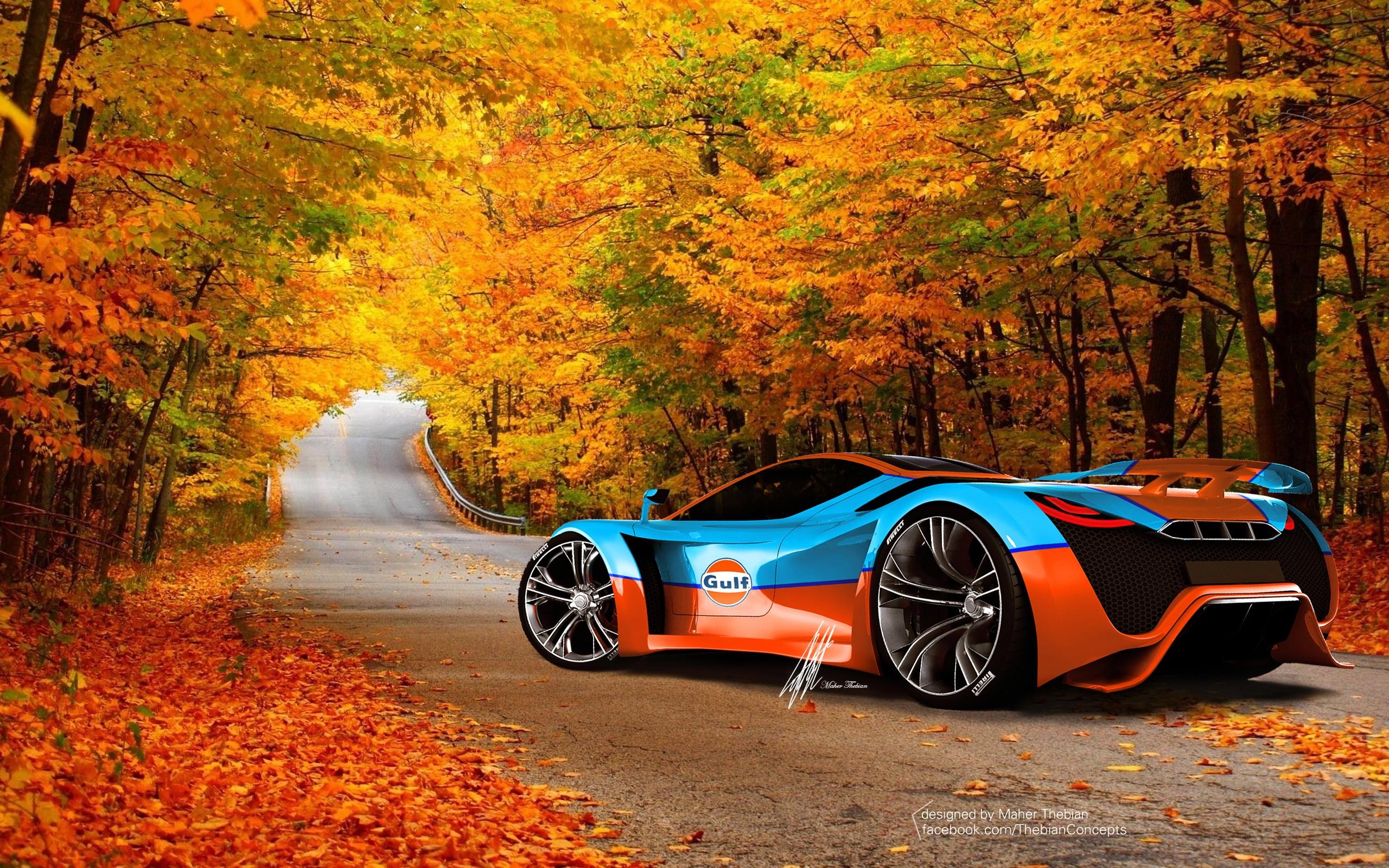 Un hermoso auto en otoño - 2560x1600