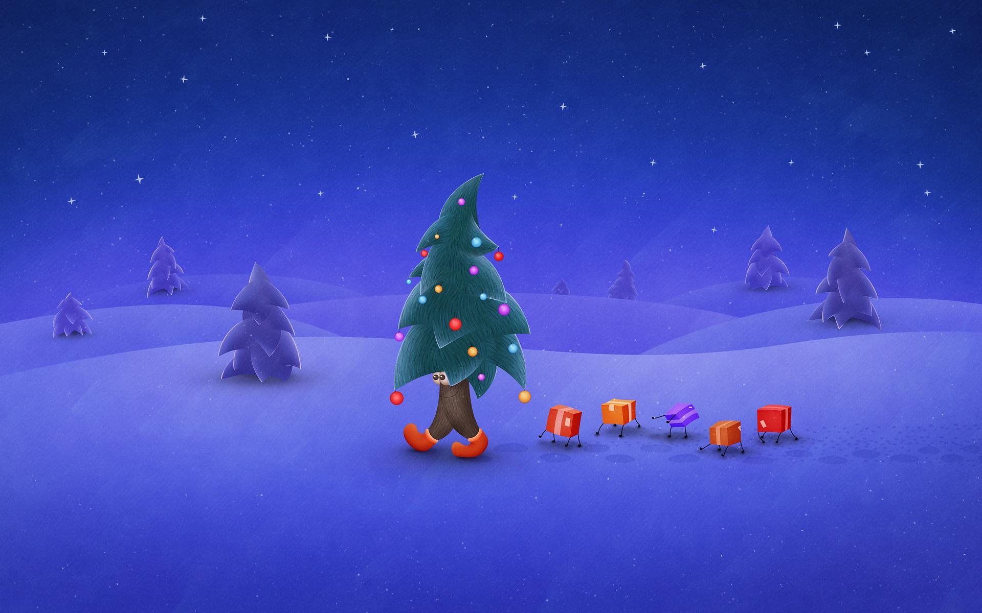 Un lindo arboles navidad en dibujo - 1920x1200