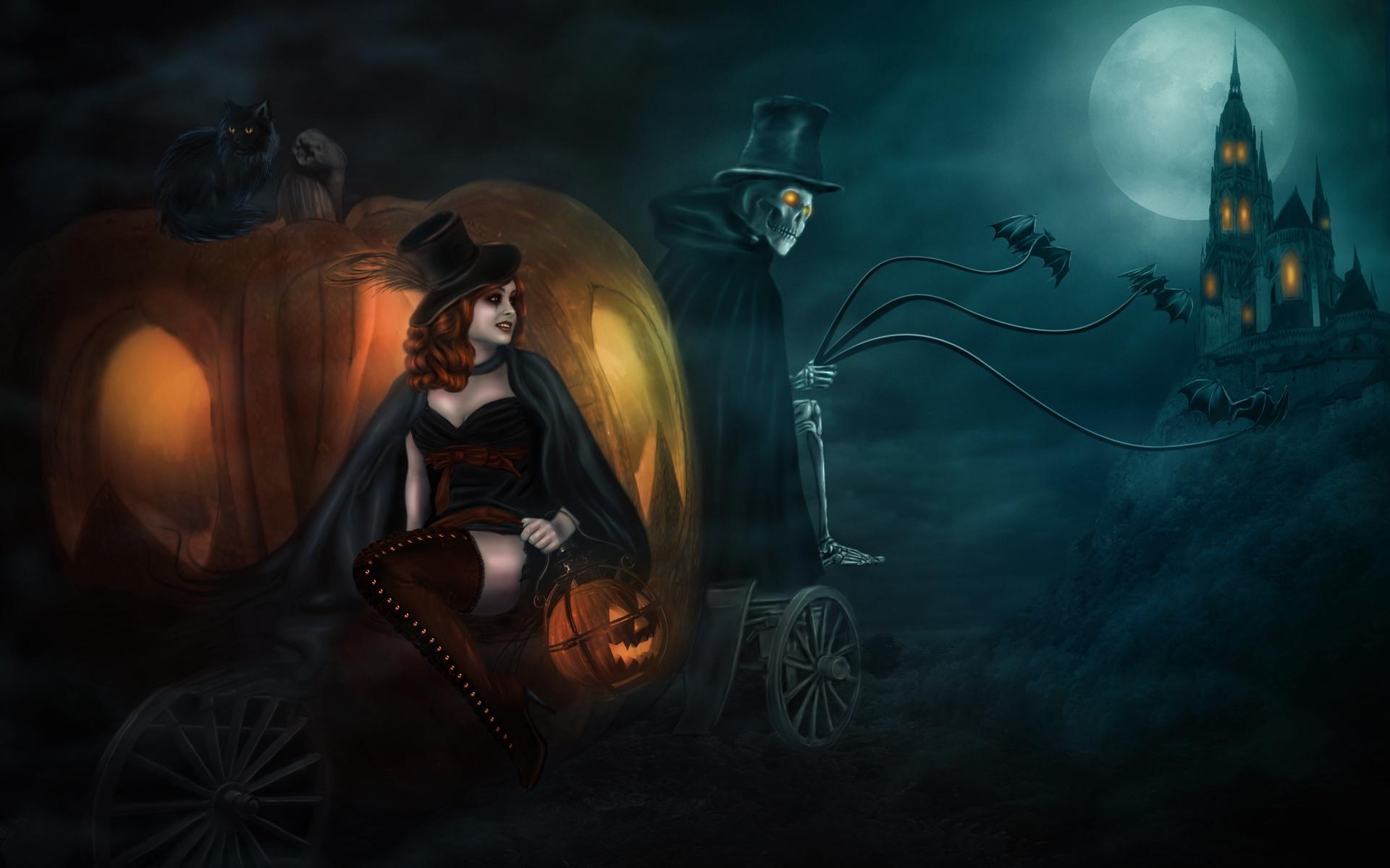 Una bruja en halloween - 1920x1200