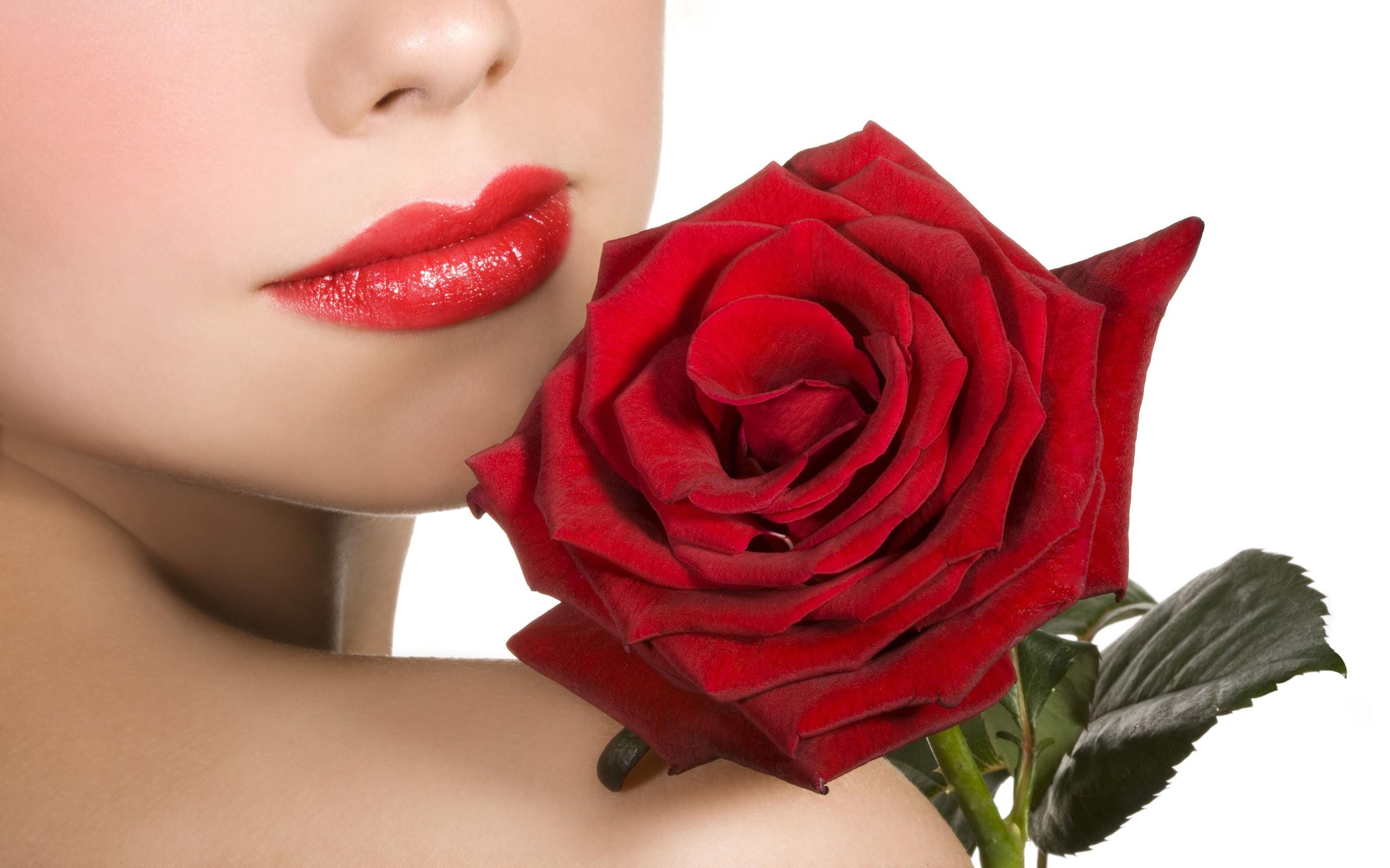 Una chica y una rosa - 2560x1600