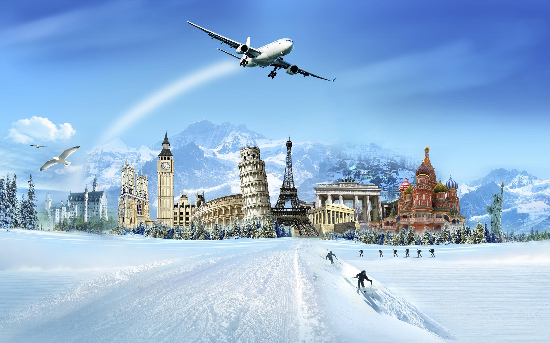 Una ciudad en la nieve - 2880x1800