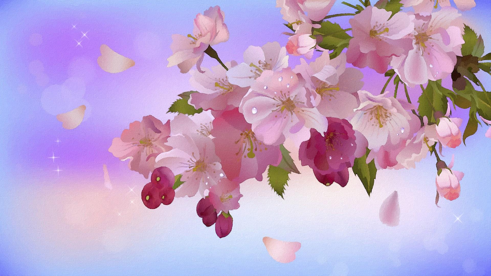 Una pintura de flores - 1920x1080