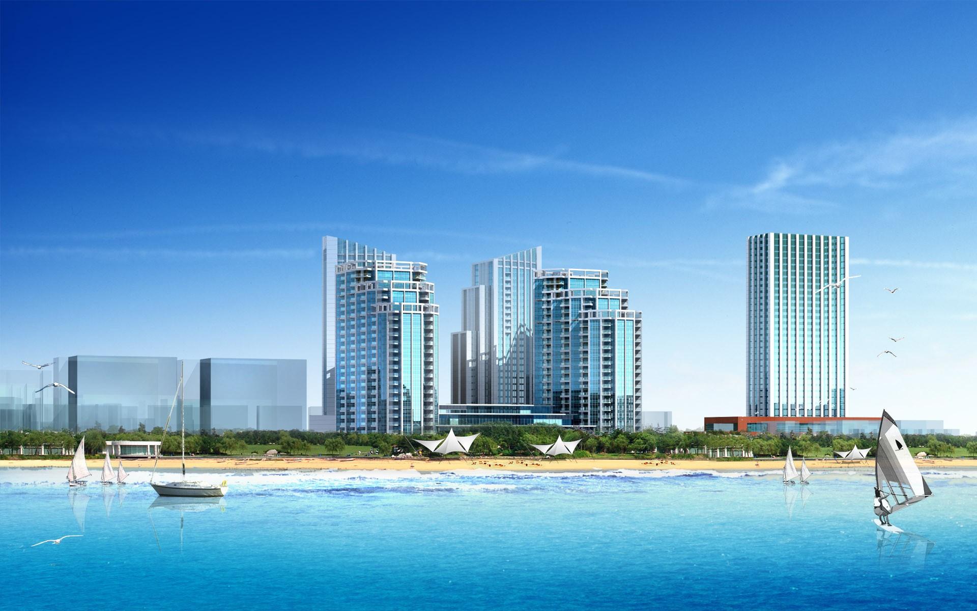 Vista 3D de una playa - 1920x1200