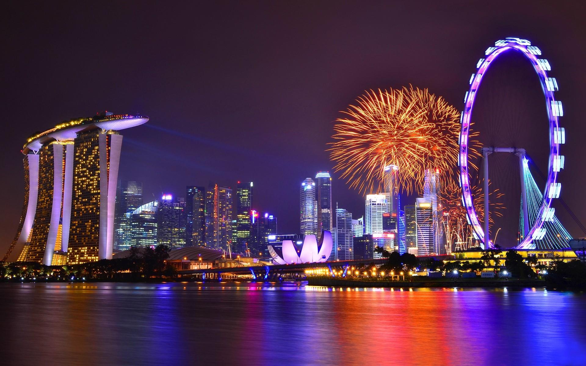 Vista de Singapore nocturna - 1920x1200